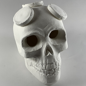 Small Ceramic Skull Frag Holder w/ 3 Plugs